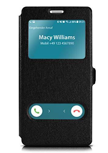 moex Klapphülle in Lederoptik inkl. Sichtfenster kompatibel mit Samsung Galaxy S5 / S5 Neo | Integrierte Standfunktion + Magnetverschluss, Schwarz