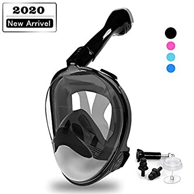 DEKINMAX Full Face Snorkel Mask,2020 Newest Ultralight Anti Fog & Anti Leak Snorkeling Mask, Panoramic 180° View Upgraded Dive Mask with Safe Breathing Dry Top System (Black, L/XL)