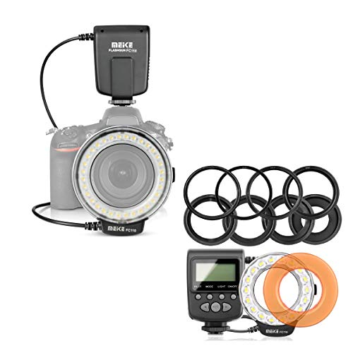 Meike FC-110 LED Macro Ring Flash Light for Canon EOS Nikon Pentax Olympus Camera with 40.5mm 52mm 55mm 58mm 62mm 67mm 72mm 77mm 8 Adapter Rings and Warm Color Filter