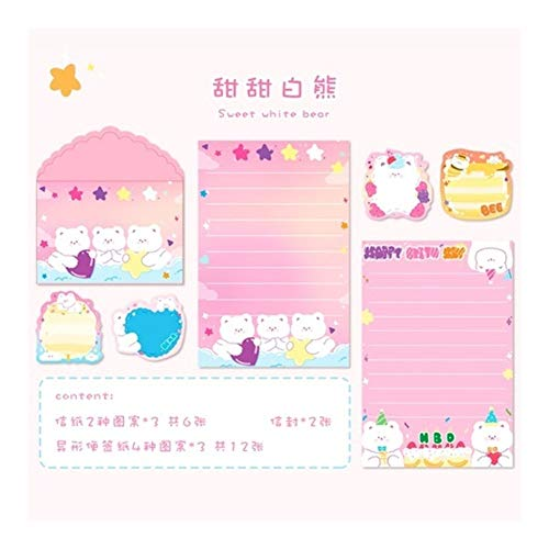 BenedictGladysd 20 Piezas Set de Kawaii Arco Iris Lindo Conejo Carta del Gato Tarjeta de Mensajes de Sobres Sistema inmóvil del Regalo del Papel de Almacenamiento ( Color : 3 )