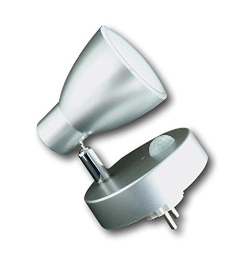 Grundig LED Steckdosen-Lampe Wandlampe Licht Spot Beleuchtung schwenkbar 7 LEDs (silber)
