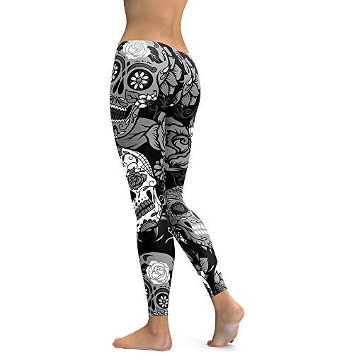 MEIbax Casual Leggings Deportes Pantalones para Mujeres Personalidad Calavera Pintada Estampado 3D Imprimir Fitness Gym Yoga de Cintura Alta Deportivos Skinny Mallas elásticas Gimnasio