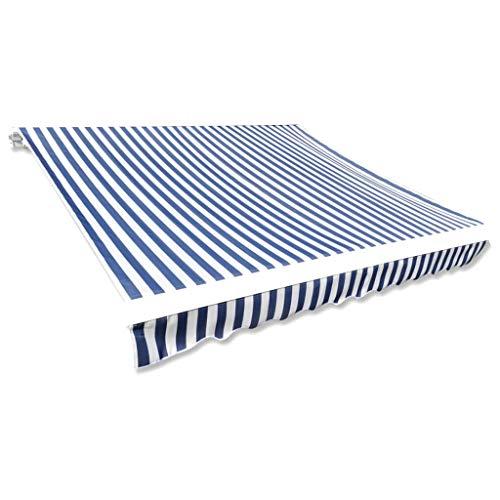 vidaXL Markisenstoff Blau Weiß 350x250cm Markisentuch Sonnendach Sonnenschutz