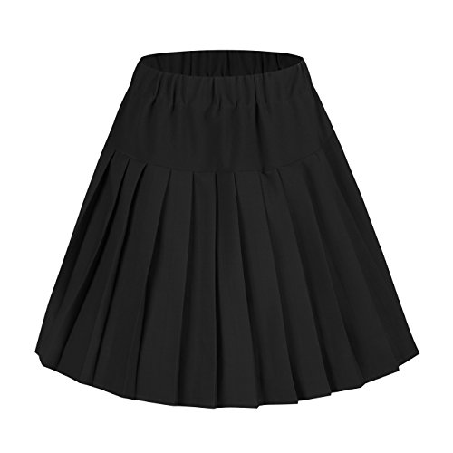 Urban CoCo Women's Elastic Waist Tartan Pleated School Skirt (Large, Solid Balck)