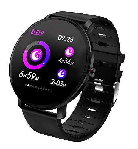 TDOR Smartwatch con Whatsapp Hombre Mujer Reloj Inteligente Android iOS Deportivo, Color Negro