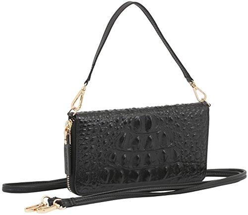 StilGut Smart Wallet aus Leder - Elegante Clutch, Geldbörse, Smartphonecase und Umhängetasche, Croc Style