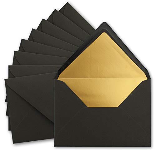 10x metallic Gold-gefütterte Brief-Umschläge DIN C5, schwarz - 156 x 220 mm - Nassklebung mit spitzer Klappe - FarbenFroh by Gustav NEUSER®