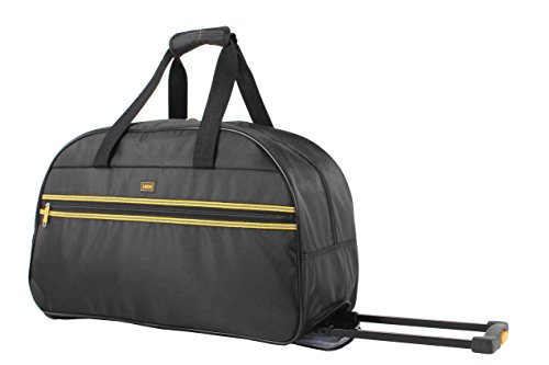 Lucas Designer Carry On Luggage Collection - Lightweight Pattern 22 Inch Duffel Bag- Weekender Overnight Business Travel Suitcase with 2- Rolling Spinner Wheels (Black L)