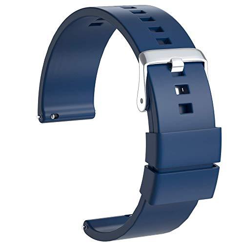 Ullchro Correa Reloj Recambios Correa Relojes Caucho Suave Flexible Hombre Mujer - 18, 20, 22mm Silicona Correa Reloj con Hebilla de Acero Inoxidable (22mm, Azul Marino)