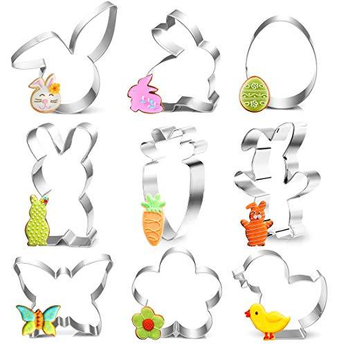 Ausstecher Ostern, 9 Stück Plätzchen Ausstechformen Ostern, Keksausstecher Ostern, Ostern Ausstecher Set, Osterplätzchen für Backen, Hase, Schmetterling, Ei