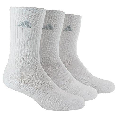 adidas Women's Cushioned Retro Crew Socks (3-Pack), White/White, One Size