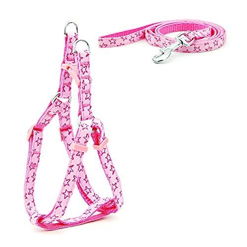 XXWW Cxwypd Cachorro Gato arnés cinturón Ajustable Chaleco Collar Cachorros al Aire Libre Caminar Chihuahua Perro Schnauzer (Color : Pink Stars, Size : M)