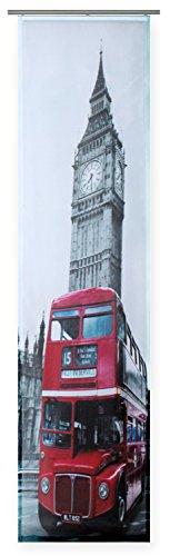 Haus und Deko Flächenvorhang Bedruckt ca. 60x245 Schiebegardine halbtransparent Gardine London