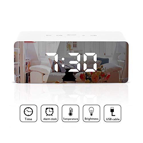 Reloj despertador LED digital Reloj despertador espejo Pantalla con función de temperatura de tiempo de despertador para dormitorio, oficina - Reloj despertador LED