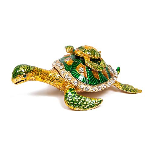 QIFU Vintage Style Hand Painted Sea Turtle Shape Jewelry Trinket Box With Rich Enamel And Sparkling Rhinestones   Unique Gift Home Decor   Best Ornament Your Collection
