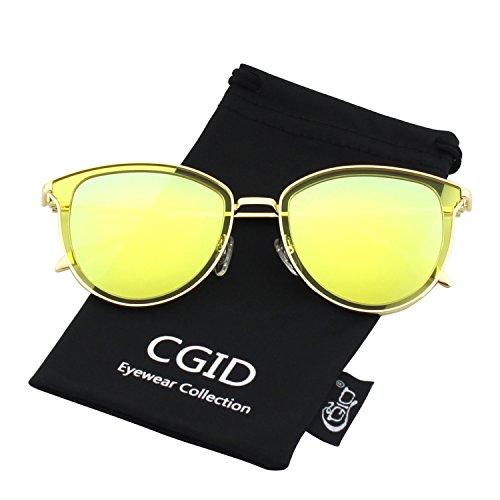 CGID CGID Retro Polarisierte Sonnenbrille Doppelte Kreis Spiegel UV400 Objektiv Metall Rahmen MJ85