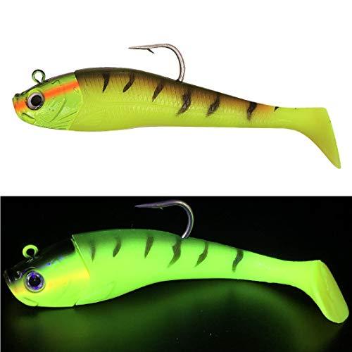 Mega Fishing Norwegen UV Shad Meeresköder - Gummifisch + Jigkopf - Dorsch Köder - 20cm & 26cm (Fluo Gelb, 20cm / 300g)