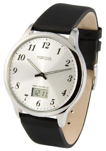 Elegante MARQUIS Herren Funkuhr (Junghans-Uhrwerk) Edelstahlgehäuse, Armband aus echtem Leder 964.6079