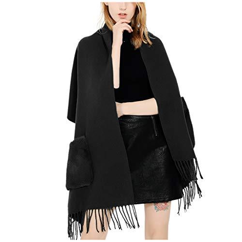 Dasongff dames sjaal met zakken warm herfst effen kleuren sjaal met kwast/franjes omslagdoek doek stola poncho sjaal wrap gebreide sjaal open front cape elegant F zwart