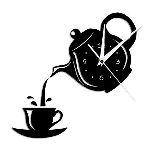 HIDFQY Teiera e Tazza di Design Fai-da-Te Effetto Specchio Acrilico Orologio da Parete Bollitore da tè Orologio da Parete a Forma di tè Orologio da Parete Decorazione da tè Nero