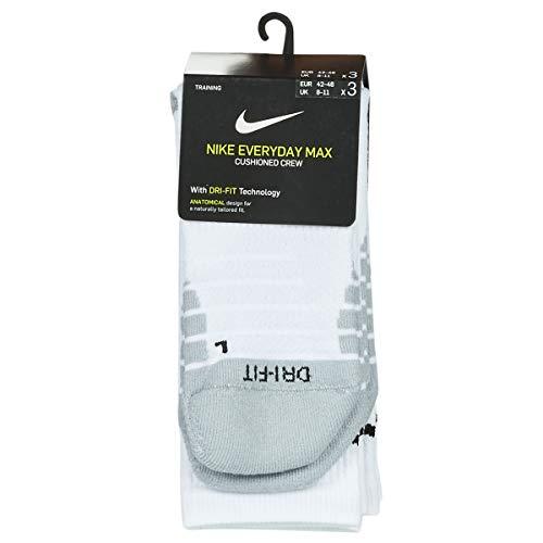 Nike U NK Everyday Max Cush Crew 3PR, Calzini Unisex – Adulto, White/Wolf Grey/(Black), XL