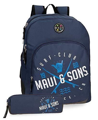 Pepe Jeans Mochila doble compartimento + estuche escolar Maui Shaka, color Azul Marino