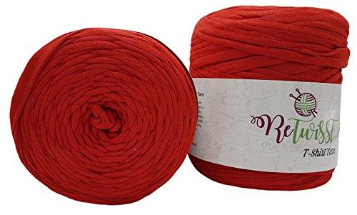 2 Stück Ballen Textilgarn,Jerseygarn, 2 x ca. 130m Lauflänge, Stoffgarn, verschiedene Farben zur Auswahl (rot)