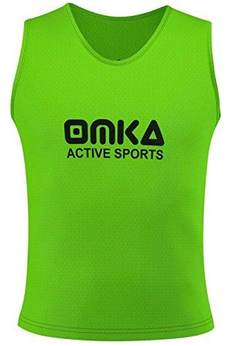 OMKA 10 Stück Fußball Leibchen Trainingsleibchen Markierungshemd Fußballleibchen für Kinder Jugend und Erwachsene, Farbe:Grün, Bibs:Junior (M)