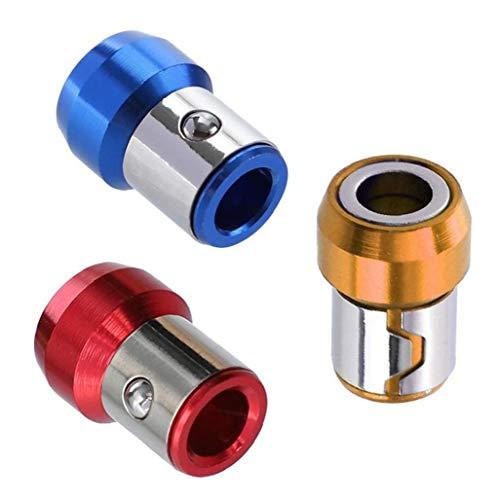 Berrywho 6.35 Destornillador de Punta magnética del Anillo del magnetizador del Metal del Anillo Azul Amarillo Rojo Tornillo Soportes magnéticos 3PCS