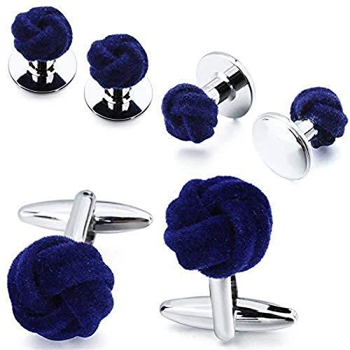 Jpenxv Conjunto de Gemelos de joyería de Camisa de Vestir para Hombres Botones de Gemelos de Nudo de Seda Azul y Morado con Gemelos en Caja (metálico: Morado)
