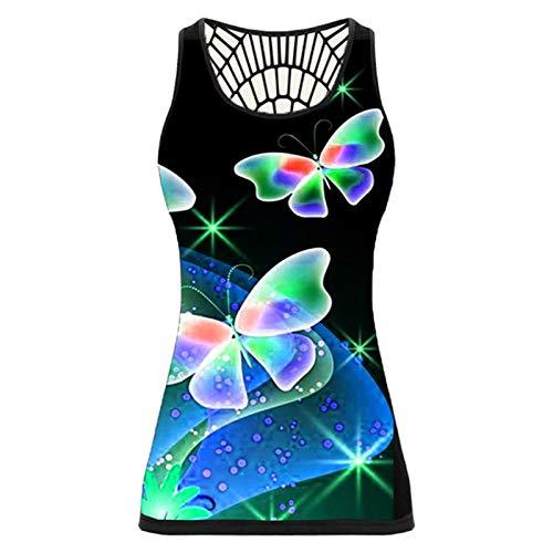 Yowablo Tanktops Frauen Schmetterlingsdruck Ärmelloses Hemd Sommer zurück...