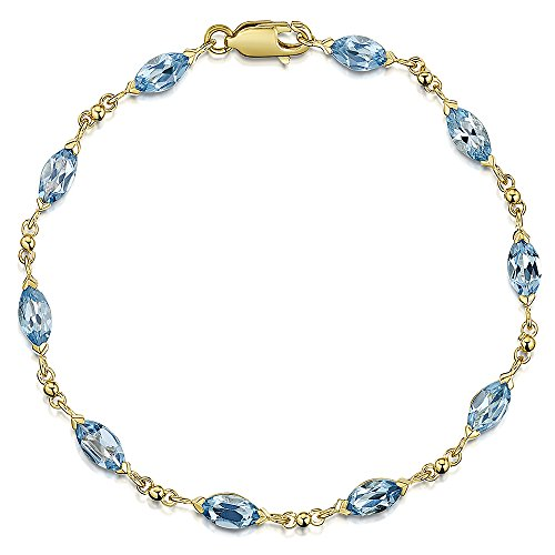 Theia Donna 9 carati Oro Giallo Ovale Blu Topazio