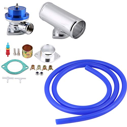 Type-S Style 40mm Turbo Blow Off Valve with 2.5 inches Flange Pipe Universal Compatible with Type-S or Type-RS dump pipe flange Turbo Blow Off Valve Flange Pipe Kit - Blue