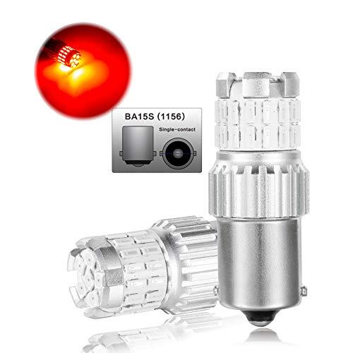 Linghuang 2 PCS Luz LED de Marcha Atrás para Coche Luz de Freno Bombillas de Señal de Giro Bombilla CANBUS Libre de Errores 6500K 1200LM 12V 24V para Delantero/Trasero de Coche (1156 BA15S P21W, Rojo)
