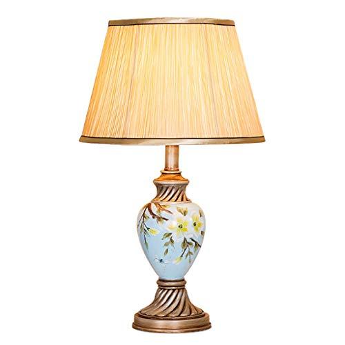 Lámpara de Mesita de Noche Lámpara de mesa clásica de resina pintada a mano Bird Flower for sala de estar Dormitorio familiar -21.6 pulgadas Lámpara de Mesa de Dormitorio Moderna ( Color : A )