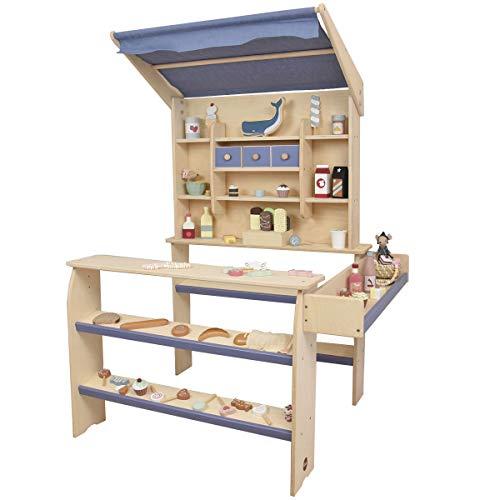 Meppi Kaufladen Wölkchen aus Holz mit Leinenstoff-Markise - Kaufmannsladen taubenblau / Natur