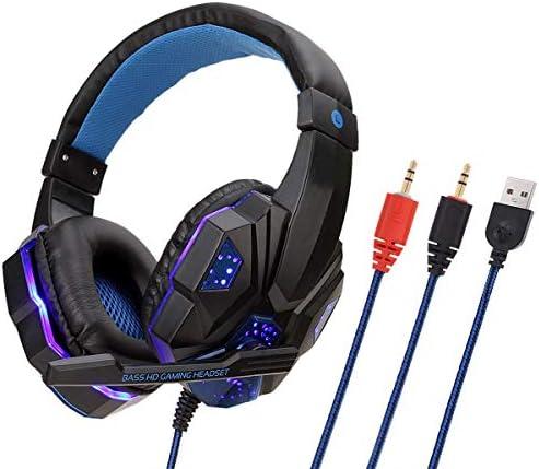 FZSM Casque d'écoute de Jeu PS4 Jeu rougeoyant Casque Casques Noirs et Bleus PC Glow