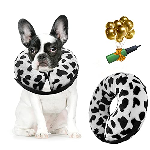 burrim Dog Inflatable Protective Collar, Comfy Recovery Cone for Dogs and Cats, Breathable Pet E Collar Will not Block The Vision, Prevent from Licking and Biting Wound, White and Black Pattern, MP