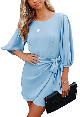 ZIYYOOHY Damen Chiffon Kleid Sommerkleid Rundhals Elegant Abend Cocktailkleid (Blau, S)