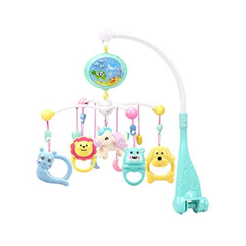 lossomly Caja de música móvil para niños, cuna musical, mando a distancia, juguete educativo temprano, con proyector y campana para la cama