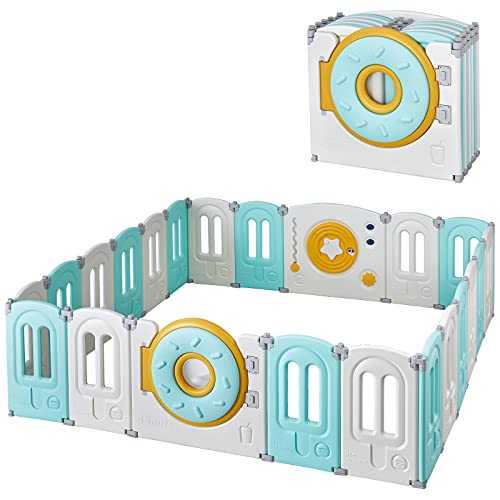 PAPABABE Baby Play Yard 22 Panels Kids Playpen - Donut Foldable Toddler Safety Play Center Yard Adjustable Shape Portable Design 26 Inch Safety Height for Children Toddler Indoor Outdoor Use Green