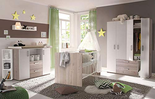 Babyzimmerset Sydney 6tlg nelson eiche Komplett Set mitwachsend Gitterbett Baby