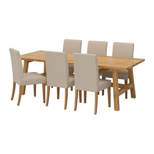 IKEA Table and 6 Chairs, Oak, Linneryd Natural 18204.261411.222