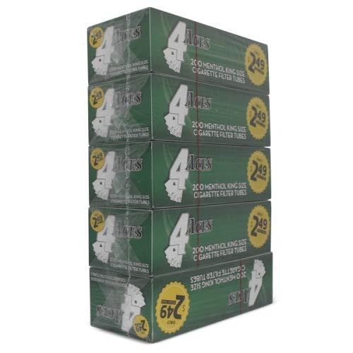 4 Aces Menthol King Size RYO Cigarette Tubes 200ct Box (5 Boxes)