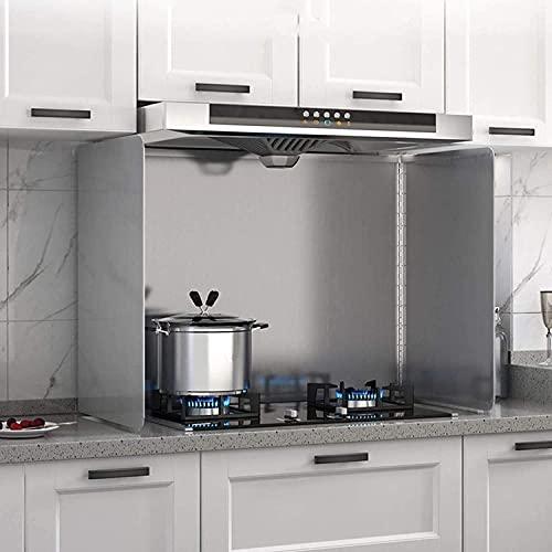 Antisalpicaduras Cocina Protector Salpicaduras Cocina Hoja de aislamiento térmico de cocina, herramienta de cocina a prueba de salpicaduras de aceite de acero inoxidable, placa de aluminio para estuf