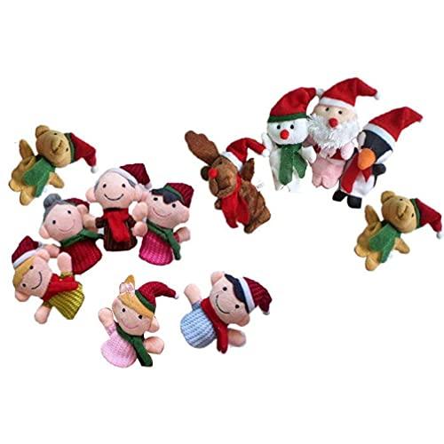 11 unids Navidad marionetas de dedo lindo Santa Elk Sonowman animales y miembros de la familia marionetas de dedo de juguete Navidad regalos regalos JXNB