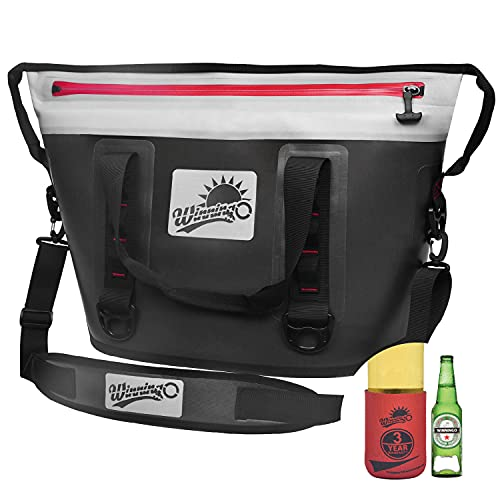 WINNINGO 30 Can Soft Cooler Bag, Portable Soft Sided Insulated Camping Cooler Waterproof Beach Tote with Leakproof Zipper & Duraflex Buckles, Keeps Ice Cold for Days (Tote 30 Grey)