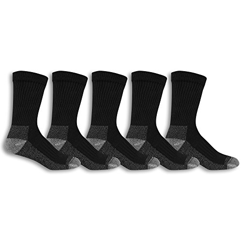 Fruit of the Loom Men's Cotton Work Gear Crew Socks | Cushioned, Wicking, Durable | 5 Pack, black, Shoe Size: 6-12