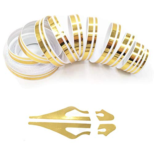 Gold Pinstripe Tape for Car - DIY Vinyl Pin Striping Decals Auto Waterproof Pin Stripe Tape Emblems Trim Universal for Automobile Musical Instrument Home Door etc