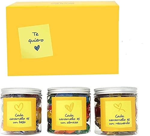 SMARTY BOX Caja Regalo Chuches Día de la Madre, San Valentín, Cumpleaños Mamá, Novia, Pareja, Enamorados, Cesta Golosinas Caramelos y Gominolas sin Gluten, Dulces Fabricado en España